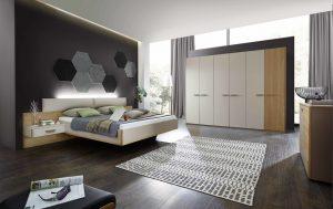 Classic Line Bettsystem mit Kleiderschrank und Kommode von Geha Möbel ind der Kombination aus Lack mit Furnier Eiche.